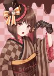 1girl :o bangs black_headwear bow brown_hair brown_kimono brown_sash checkered checkered_background checkered_kimono commentary_request eyebrows_visible_through_hair food frilled_sleeves frills gloves hand_up hat hat_bow highres holding holding_food japanese_clothes kimono long_sleeves looking_at_viewer obi open_mouth original pink_background pink_eyes pocky sash short_hair solo striped striped_kimono top_hat torinari_(dtvisu) upper_body valentine wide_sleeves yellow_bow