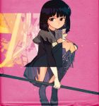 1girl bangs bishoujo_senshi_sailor_moon black_hair black_legwear black_shirt bob_cut boots capelet commentary cross-laced_footwear cut-away earrings expressionless gloves holding jewelry kuroi_moyamoya lace-up_boots magical_girl naginata pink_background polearm purple_earrings purple_footwear purple_skirt sailor_senshi shirt short_hair skirt solo squatting thigh-highs thigh_boots tomoe_hotaru weapon white_gloves