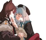 2girls animal_ears arknights bangs bear_ears beret blue_eyes blue_hair breasts brown_hair cardigan choker earphones earphones fur_trim hair_ornament hat istina_(arknights) jacket monocle multiple_girls off_shoulder red_legwear simple_background towtow_redoland white_background zima_(arknights)