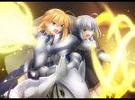 2girls ahoge armor artoria_pendragon_(all) blonde_hair breasts breasts_apart fate/grand_order fate_(series) gray_(lord_el-melloi_ii) green_eyes grey_hair highres horse horseback_riding letterboxed migiha multicolored_hair multiple_girls open_mouth rhongomyniad riding saber shouting solo type-moon
