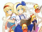2girls alice_margatroid alice_margatroid_(pc-98) ascot bangs blonde_hair blue_dress blue_eyes blue_hairband blue_skirt book capelet doll dress eyebrows_visible_through_hair eyes_visible_through_eyewear frilled_ascot frilled_sash frills grimoire_of_alice hairband highres lance lolita_hairband looking_at_viewer magic_circle multiple_girls polearm puffy_short_sleeves puffy_sleeves red_hairband sash short_hair short_sleeves skirt string sword touhou weapon white_background white_capelet zenshin