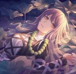 1girl arm_up beads blonde_hair dress empty_eyes eyebrows_visible_through_hair gradient_hair highres hijiri_byakuren juliet_sleeves layered_dress leaf long_hair long_sleeves looking_at_viewer lying multicolored_hair on_back parted_lips partially_submerged prayer_beads puffy_sleeves purple_hair solo symbol_commentary touhou upper_body very_long_hair yangsan_(2991076090) yellow_eyes