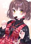 1girl bangs black_sweater blush brown_eyes brown_hair chocolate commentary copyright_request dress earrings eyebrows_visible_through_hair hair_between_eyes heart heart_earrings highres jewelry looking_at_viewer one_side_up red_dress solo sweater urim_(paintur) valentine