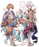1girl 2boys barefoot blue_hair blue_hoodie book breastplate brown_eyes brown_hair closed_eyes detached_sleeves dress gauntlets gran_(granblue_fantasy) granblue_fantasy grimnir heterochromia highres holding holding_book long_hair lyria_(granblue_fantasy) maru0539 multiple_boys musical_note pointy_ears silver_hair sleeveless sleeveless_dress speech_bubble sword weapon white_background white_dress