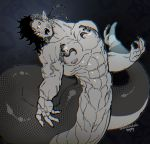 1boy abs arched_back black_hair cloaca earmuffs fingernails locksuke male_focus monster_boy muscle nipples open_mouth original red_eyes scales sharp_fingernails simple_background snake_boy snake_tail solo tail tattoo veins