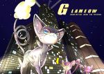 blue_eyes building cat character_name creature dated gen_1_pokemon gen_4_pokemon glameow highres littlelluu looking_at_another mouse night night_sky no_humans outdoors pokemon pokemon_(creature) rattata red_eyes running sky standing star_(sky) starry_sky