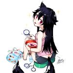 1girl :d animal_ears bag bagged_fish basin black_hair camisole dated ejami ekko_(ejami) fang fish fox_ears fox_girl fox_tail goldfish long_hair open_mouth original poi_(goldfish_scoop) red_eyes sandals shorts smile tail