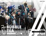 1other 2boys 4girls amiya_(arknights) animal_ears arknights bow_(weapon) bubble_tea doctor_(arknights) drinking drinking_straw durin_(arknights) dwarf english_text face_mask gas_mask highres hood hooded_jacket jacket jellsuimu lizardman long_sleeves mask multiple_boys multiple_girls noir_corne_(arknights) oni oni_horns orchid_(arknights) rabbit_ears rangers_(arknights) scarf weapon yato_(arknights)