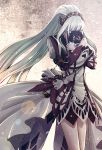 1girl covering_face diadem dress floating_hair high_ponytail holding lailah_(tales) lens_flare long_hair long_sleeves monicanc short_dress silver_hair solo standing tales_of_(series) tales_of_zestiria very_long_hair white_dress