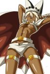 1girl abs bangs belt belt_buckle beltbra breasts brown_eyes buckle cape commentary_request dark_skin from_below guilty_gear guilty_gear_xrd hair_between_eyes hat kamui_sathi long_hair looking_at_viewer medium_breasts muscle muscular_female ramlethal_valentine short_shorts shorts simple_background solo thigh_strap white_background white_belt white_cape white_hair white_headwear white_shorts