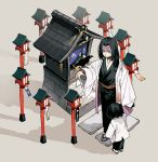 2boys animal_on_arm bird bird_on_arm black_hair black_kimono bob_cut child clothes_grab crow facial_scar facing_away father_and_son flip-flops from_above haori japanese_clothes kimetsu_no_yaiba kimono long_sleeves male_focus multiple_boys newo_(shinra-p) outstretched_arm sandals sash scar shadow shrine smile stairs standing tabi talisman ubuyashiki_kagaya ubuyashiki_kiriya