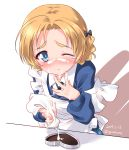 1girl apron artist_name blonde_hair blue_eyes blush bow braid cake closed_mouth cream cream_on_face dated eyebrows_visible_through_hair food food_on_face girls_und_panzer hair_bow hair_ornament highres kuzuryuu_kennosuke looking_at_viewer maid maid_apron one_eye_closed orange_pekoe_(girls_und_panzer) sexually_suggestive shiny shiny_hair short_hair simple_background solo standing white_background