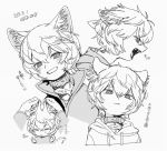 >_< 1boy :3 animal_ears blush cat_boy cat_ears collar dated disembodied_limb drawstring ear_pull fangs fish_pendant greyscale hood hood_down hoodie jacket kuga_yuuma long_sleeves looking_at_viewer monochrome multiple_views open_mouth profile puckered_lips pullover ringed_eyes sacog simple_background smile world_trigger