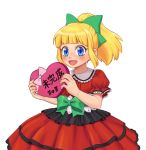1girl :d alternate_costume bangs blonde_hair blunt_bangs blush bow box commentary_request dress elara_58 gift gift_box hair_bow heart heart-shaped_box high_ponytail holding holding_gift korean_commentary long_hair open_mouth ponytail red_dress ribbon rockman rockman_(classic) roll sidelocks simple_background smile solo valentine white_background