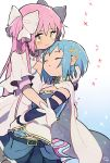 2girls aqua_background belt blue_hair blue_skirt blush breasts cape detached_sleeves dress expressionless fortissimo fortissimo_hair_ornament gloves goddess_madoka gradient gradient_background hair_ornament hair_ribbon hairclip hand_on_another's_head hand_on_another's_waist highres holding kaname_madoka kirikuchi_riku light_smile long_hair looking_at_another looking_down mahou_shoujo_madoka_magica medium_breasts miki_sayaka multiple_girls parted_lips pleated_skirt ribbon short_hair simple_background skirt soul_gem sparkle sparkle_background strapless two_side_up very_long_hair white_background white_cape white_dress white_gloves white_ribbon wide_sleeves yellow_eyes