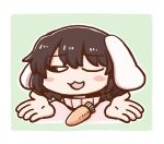 1girl animal_ears black_eyes blue_background blush blush_stickers brown_hair carrot_necklace dress eyebrows_visible_through_hair inaba_tewi one_eye_closed one_eye_covered outline pink_dress poronegi rabbit_ears short_hair shrugging simple_background solo touhou white_outline