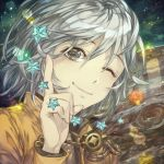 1boy ;) aiguillette bangs closed_mouth english_commentary index_finger_raised jari_(jyarijyari999) long_sleeves looking_at_viewer male_focus one_eye_closed original planet portrait reflective_eyes smile solo sparkle star white_hair