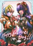 2girls absurdres alia_(rockman) android bangs blonde_hair blue_eyes blunt_bangs blush breasts dark_skin dgrp_(minhduc12333) hair_over_eyes happy_valentine headset heart heart_hands heart_hands_duo highres hime_cut large_breasts layer long_hair mole mole_under_eye multiple_girls one_eye_closed purple_hair robot_ears rockman rockman_x smile under_boob valentine
