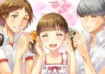 1girl 2boys :d bangs blush brown_hair closed_eyes collarbone collared_shirt doujima_nanako dress_shirt facing_viewer flower grey_flower hair_flower hair_ornament hanamura_yousuke headphones headphones_around_neck highres multiple_boys narukami_yuu open_mouth orange_flower parted_bangs persona persona_4 pink_ribbon ribbon sato-pon shiny shiny_hair shirt short_hair silver_hair sleeveless smile swept_bangs twintails twitter_username white_shirt wing_collar