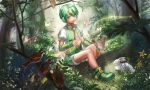 1boy bird bug butterfly commentary forest glowing green_eyes green_footwear green_hair green_shorts green_vest headphones index_finger_raised insect log male_focus musical_note nature necktie outdoors rabbit ryuuto_(vocaloid) shoes short_sleeves shorts sitting_on_log sparrow striped striped_neckwear vest vocaloid yamakawa_umi