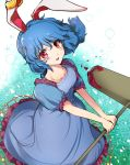 1girl ambiguous_red_liquid animal_ears bangs blue_dress blue_hair blue_skirt blush dress ear_clip eyebrows_visible_through_hair floating_hair floppy_ears frilled_dress frills from_above legacy_of_lunatic_kingdom makotono_(makotono_00) mallet open_mouth rabbit_ears red_eyes seiran_(touhou) skirt solo touhou