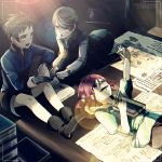 1girl 2boys all_fours arm_up black_pants black_shorts blue_eyes blue_shirt book brown_hair character_name copyright_name dress_shirt grey_shirt hair_between_eyes indoors lens_flare long_sleeves lying mikleo_(tales) monicanc multiple_boys on_back open_book pants redhead rose_(tales) shirt short_hair short_sleeves short_twintails shorts sitting sorey_(tales) sunlight tales_of_(series) tales_of_zestiria twintails younger
