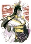 bangs black_hair black_skin blue_eyes blunt_bangs character_request closed_mouth dated final_fantasy final_fantasy_xiv holding japanese_clothes kimono kyo_(kuroichigo) long_hair moon multicolored multicolored_hair pipe shaded_face signature sketch upper_body white_hair white_skin