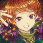1boy bangs english_commentary grin jari_(jyarijyari999) jewelry looking_at_viewer male_focus necklace orange_hair original planet portrait reflective_eyes smile solo star turtleneck violet_eyes