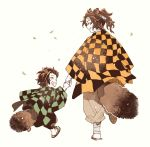 2boys ^_^ animal_ears brown_hair checkered child closed_eyes earrings facial_scar father_and_son flip-flops from_behind hair_slicked_back half_updo haori happy japanese_clothes jewelry kamado_tanjirou kamado_tanjurou kemonomimi_mode kimetsu_no_yaiba leaf male_focus multiple_boys newo_(shinra-p) pants profile raccoon_boy raccoon_ears raccoon_tail sandals scar side-by-side simple_background smile tail walking