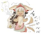1other androgynous animal_ears blush directional_arrow eyebrows_visible_through_hair fangs furry helmet kawasemi27 long_hair looking_at_viewer made_in_abyss nanachi_(made_in_abyss) open_mouth solo speech_bubble tail tearing_up translation_request upper_teeth whiskers white_hair yellow_eyes