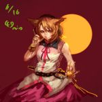 1girl animal_ears blonde_hair bracelet closed_mouth dated hands_on_headphones headphones holding inishie_kumo jewelry looking_at_viewer pink_skirt sketch skirt solo touhou toyosatomimi_no_miko vest white_vest yellow_eyes