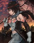 1girl anonamos bare_shoulders bowler_hat brown_eyes brown_hair clenched_hand clouds detached_sleeves from_side gloves hair_between_eyes hat hat_removed headwear_removed highres midriff multicolored_hair navel neo_politan pants parasol pink_hair rwby smirk solo sunset tree umbrella white_gloves