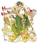 1girl 2018 animal animal_ears bell brown_hair chinese_zodiac closed_mouth dog dog_ears dog_tail fingernails floral_print hair_bell hair_ornament happy_new_year highres holding holding_animal holding_dog japanese_clothes kimono kyo_(kuroichigo) long_hair new_year open_mouth original pink_nails short_eyebrows simple_background surprised sweat tail teeth tongue tongue_out upper_teeth white_background year_of_the_dog yellow_eyes