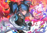 1girl absurdres color_connection dabingdan dated fate/grand_order fate_(series) hair_ornament hairclip highres huge_filesize kamen_rider kamen_rider_ex-aid_(series) multicolored_hair off-shoulder_jacket perfect_knockout_gamer_level_99 pose puzzle_piece rider_belt sailor_collar sei_shounagon_(fate) smile solo sunglasses twintails yellow_eyes