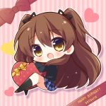 1girl :d bangs black_jacket black_legwear black_ribbon blazer blue_skirt blush box brown_eyes brown_footwear brown_hair character_name chibi commentary_request eyebrows_visible_through_hair full_body gift gift_box hair_between_eyes hair_ribbon happy_birthday heart heart-shaped_box highres jacket loafers long_hair looking_at_viewer momoniku_(taretare-13) ogiso_setsuna open_mouth outline plaid plaid_skirt pleated_skirt ribbon school_uniform shoes skirt smile socks solo striped striped_background two_side_up vertical-striped_background vertical_stripes very_long_hair white_album_2 white_outline