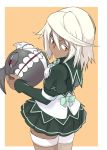 1girl breasts commentary_request dark_skin guilty_gear guilty_gear_xrd highres long_hair looking_at_viewer medium_breasts orange_eyes ramlethal_valentine school_uniform simple_background solo tellwo white_hair