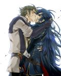 1boy 1girl armor artist_request azur_(fire_emblem) belt belt_buckle blood blue_hair buckle cape closed_eyes couple crying crying_with_eyes_open cute falchion_(fire_emblem) fire_emblem fire_emblem:_kakusei fire_emblem_13 fire_emblem_awakening gloves gray_hair highres_request inigo_(fire_emblem) intelligent_systems kiss kissing long_hair love lucina_(fire_emblem) nintendo sad short_hair sword tears weapon