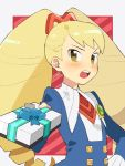 1girl big_hair blonde_hair blush box brown_eyes capcom commentary_request drill_hair gift gift_box hand_on_hip holding holding_gift long_hair open_mouth pekaso1118n rockman ryuusei_no_rockman shirogane_luna solo striped striped_background twin_drills twintails valentine