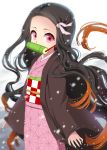 1girl bamboo bangs bit_gag black_hair brown_hair checkered commentary_request forehead gag gradient_hair hair_ribbon highres japanese_clothes kamado_nezuko kimetsu_no_yaiba kimono long_hair long_sleeves mouth_hold multicolored_hair obi open_clothes parted_bangs pink_kimono pink_ribbon red_eyes ribbon sash sleeves_past_wrists snow snowing solo suzune_rai very_long_hair white_background wide_sleeves