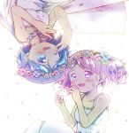 2girls :d ;d alternate_costume backlighting bare_arms bare_shoulders blue_flower blue_hair blush breasts collarbone dot_nose dress eyebrows_visible_through_hair flower green_flower hair_flower hair_ornament head_wreath highres kaname_madoka kirikuchi_riku leaf looking_at_another looking_down looking_up mahou_shoujo_madoka_magica miki_sayaka multiple_girls one_eye_closed open_mouth petals pink_eyes pink_flower pink_hair shiny shiny_hair short_hair short_twintails simple_background sleeveless sleeveless_dress small_breasts smile spaghetti_strap strapless strapless_dress twintails upper_body upside-down white_background white_dress yellow_flower