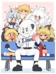 1boy 5girls :3 animal_ears bangs barbary_lion_(kemono_friends) bare_shoulders baseball_uniform behind_another bench big_hair blush brown_hair cape_lion_(kemono_friends) cave_lion_(kemono_friends) character_request closed_mouth clothes_writing crossover detached_sleeves drooling full_body fur_collar fur_scarf furry gift gloves grey_hair hair_between_eyes half-closed_eyes heart heart-shaped_pupils hetero highres holding irritated kazue1000 kemono_friends letter light_brown_hair lion_(kemono_friends) lion_ears lion_tail long_hair looking_at_another looking_down love_letter mascot medium_hair multicolored_hair multiple_girls necktie nose_blush open_mouth own_hands_together parted_bangs scarf scratching_head shirt shoes sitting smile snout sportswear symbol-shaped_pupils tail two-tone_hair valentine white_hair white_lion_(kemono_friends) wide-eyed