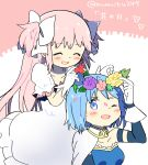 2girls ;d ^_^ arm_at_side blue_eyes blue_flower blue_hair blush breasts cape closed_eyes collarbone detached_sleeves dress eyebrows_visible_through_hair flower gloves goddess_madoka hair_ribbon head_wreath highres kaname_madoka kirikuchi_riku leaf long_dress long_hair looking_back mahou_shoujo_madoka_magica medium_breasts miki_sayaka multiple_girls one_eye_closed open_mouth pink_background pink_flower pink_hair puffy_sleeves purple_flower red_flower ribbon short_hair simple_background smile strapless twitter_username two-tone_background two_side_up upper_body very_long_hair white_background white_cape white_dress white_gloves white_ribbon yellow_flower