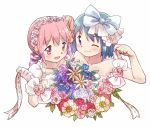 2girls :d ;) alternate_costume arm_ribbon arm_up armlet armpit_peek bare_arms bare_shoulders blue_eyes blue_flower blue_hair blue_rose blush bouquet collarbone dot_nose dress drill_hair flower frills from_above gloves hair_flower hair_ornament hair_ribbon hairband happy holding holding_bouquet kaname_madoka kirikuchi_riku leaf looking_at_viewer looking_up mahou_shoujo_madoka_magica miki_sayaka multiple_girls one_eye_closed open_mouth pink_eyes pink_flower pink_hair pink_rose puffy_short_sleeves puffy_sleeves purple_flower purple_rose red_flower red_rose ribbon rose shiny shiny_hair short_hair short_sleeves side-by-side simple_background smile strapless strapless_dress upper_body white_background white_dress white_flower white_gloves white_hairband white_ribbon wrist_ribbon