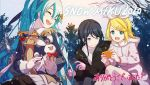 3girls animal aqua_eyes aqua_hair band_uniform bangs black_coat black_hair blonde_hair blue_jacket bow bowtie cellphone closed_eyes coat commentary epaulettes fur-trimmed_coat fur_trim gloves hair_bow hair_ornament hairclip hat hatsune_miku headphones headset holding holding_animal holding_phone hooded_coat hoshino_ichika_(project_sekai) ixima jacket kagamine_rin leaning_forward long_hair looking_to_the_side multiple_girls open_mouth outdoors pants pantyhose phone pleated_skirt project_sekai rabbit rabbit_yukine red_bow short_hair shorts sitting skirt smartphone smile snowing swept_bangs tree twintails v-shaped_eyebrows very_long_hair vocaloid white_coat white_gloves white_skirt yuki_miku yuki_miku_(2020)