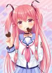 1girl angel_beats! bangs black_choker blue_sailor_collar blue_skirt blush brown_ribbon candy chocolate chocolate_heart choker collarbone commentary_request diagonal-striped_background diagonal_stripes eyebrows_visible_through_hair food food_in_mouth grin hair_between_eyes hair_ribbon hand_up happy_valentine heart heart_background highres holding holding_food long_hair looking_at_viewer mouth_hold nakamura_hinato neckerchief pink_hair pink_neckwear pleated_skirt red_eyes ribbon sailor_collar shinda_sekai_sensen_uniform shirt skirt smile solo striped striped_background two_side_up valentine very_long_hair white_shirt yui_(angel_beats!)