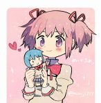 1girl :> black_footwear blue_eyes blue_hair blush blush_stickers border character_doll closed_mouth doll dot_nose eyebrows_visible_through_hair flat_chest hair_ribbon happy heart high_collar holding holding_doll holding_toy juliet_sleeves kaname_madoka kirikuchi_riku long_sleeves mahou_shoujo_madoka_magica miki_sayaka mitakihara_school_uniform pink_background pink_eyes pink_hair pleated_skirt puffy_sleeves red_ribbon ribbon school_uniform short_hair short_twintails simple_background skirt smile socks solid_oval_eyes solo sparkle stitches toy twintails twitter_username uniform white_border