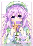 1girl adult_neptune artist_name bangs beret binato_lulu blush box checkered checkered_hat checkered_jacket choujigen_game_neptune commentary_request covering_mouth eyebrows_visible_through_hair gift gift_box hair_between_eyes hair_flaps hat holding holding_gift jacket long_hair long_sleeves looking_at_viewer neptune_(series) pink_hair purple_hair shiny shiny_hair sidelocks solo sweater upper_body valentine violet_eyes white_sweater