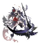 1girl absurdres asymmetrical_bangs bangs blood bloody_clothes breasts commentary_request elbow_gloves expressionless feather_trim flower full_body gloves grey_eyes highres holding holding_weapon medium_breasts platform_footwear rose scythe silver_trim sinoalice snow_white_(sinoalice) solo thigh-highs torn_clothes tyesuco weapon white_background white_hair