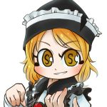 1girl avatar_icon black_headwear black_vest blonde_hair chamaji commentary_request eyebrows_visible_through_hair frilled_hat frilled_vest frills hat long_sleeves looking_at_viewer lowres lunasa_prismriver musical_note shirt short_hair signature simple_background smile solo touhou upper_body vest white_shirt