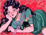 1boy 1girl blush diamond_wa_kudakenai hirose_kouichi jojo_no_kimyou_na_bouken long_hair lying on_side oniyama831 school_uniform smile yamagishi_yukako